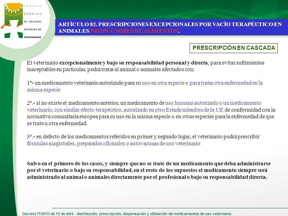 Decreto 79/2011 de 12 de abril - distribución, prescripción, dispensación y utilización de medicamentos de uso veterinario ARTÍCULO 82. PRESCRIPCIONES