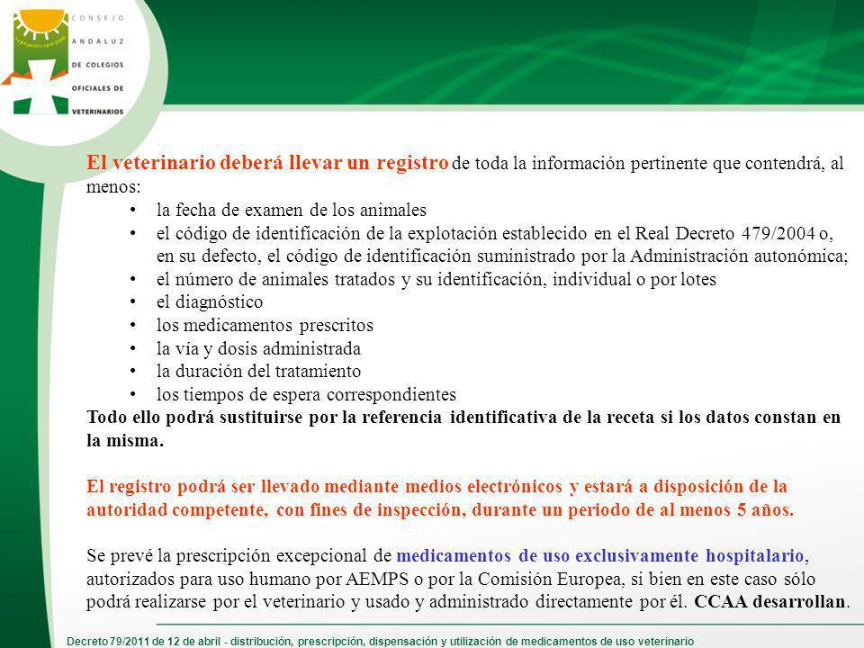 Decreto 79/2011 de 12 de abril - distribución, prescripción, dispensación y utilización de medicamentos de uso veterinario El veterinario deberá lleva