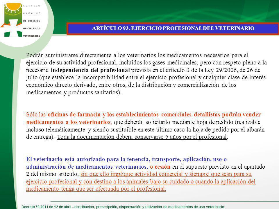Decreto 79/2011 de 12 de abril - distribución, prescripción, dispensación y utilización de medicamentos de uso veterinario ARTÍCULO 93. EJERCICIO PROF