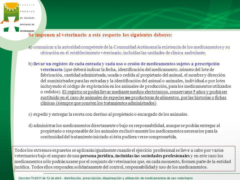 Decreto 79/2011 de 12 de abril - distribución, prescripción, dispensación y utilización de medicamentos de uso veterinario Se imponen al veterinario a