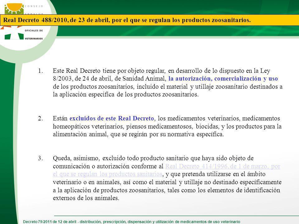 Decreto 79/2011 de 12 de abril - distribución, prescripción, dispensación y utilización de medicamentos de uso veterinario 1.Este Real Decreto tiene p