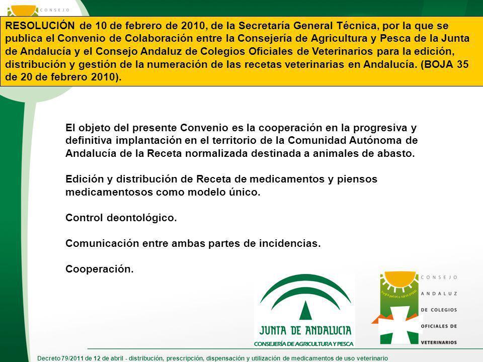 Decreto 79/2011 de 12 de abril - distribución, prescripción, dispensación y utilización de medicamentos de uso veterinario RESOLUCIÓN de 10 de febrero