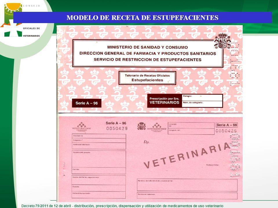 Decreto 79/2011 de 12 de abril - distribución, prescripción, dispensación y utilización de medicamentos de uso veterinario MODELO DE RECETA DE ESTUPEF