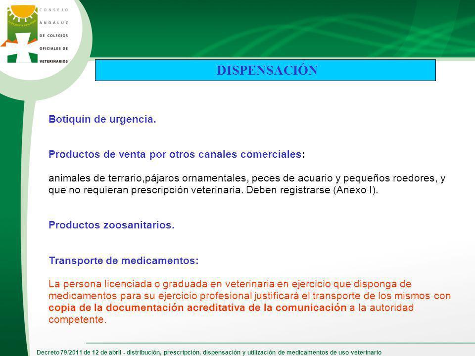 Decreto 79/2011 de 12 de abril - distribución, prescripción, dispensación y utilización de medicamentos de uso veterinario Botiquín de urgencia. Produ