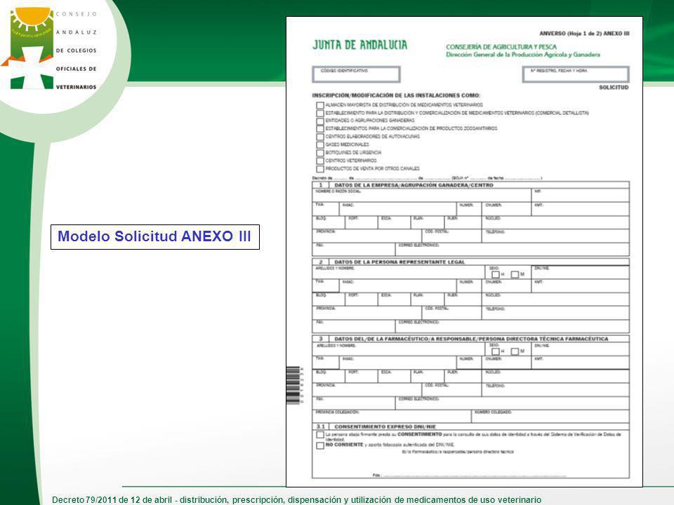 Decreto 79/2011 de 12 de abril - distribución, prescripción, dispensación y utilización de medicamentos de uso veterinario Modelo Solicitud ANEXO III