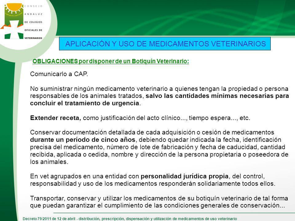 Decreto 79/2011 de 12 de abril - distribución, prescripción, dispensación y utilización de medicamentos de uso veterinario APLICACIÓN Y USO DE MEDICAM