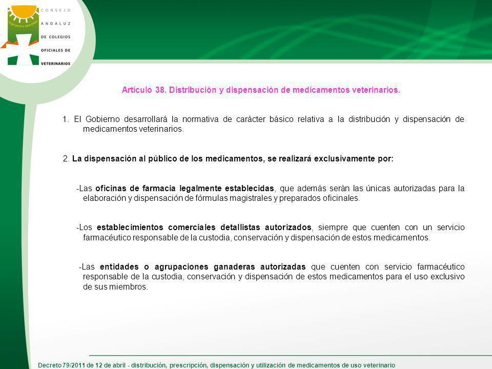 Decreto 79/2011 de 12 de abril - distribución, prescripción, dispensación y utilización de medicamentos de uso veterinario Artículo 38. Distribución y