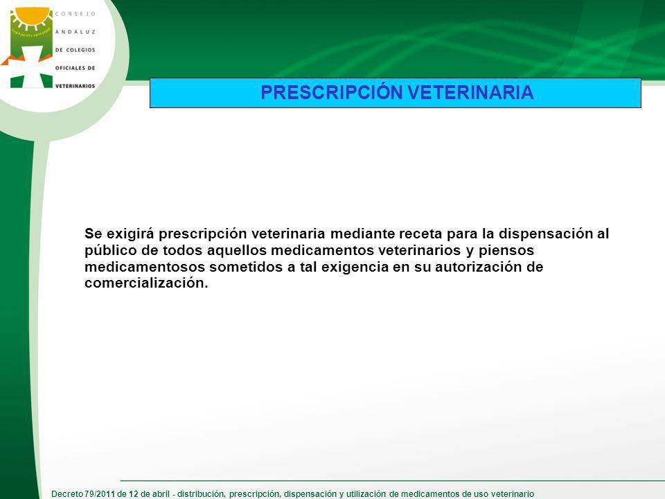 Decreto 79/2011 de 12 de abril - distribución, prescripción, dispensación y utilización de medicamentos de uso veterinario Se exigirá prescripción vet