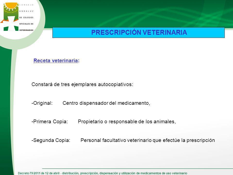 Decreto 79/2011 de 12 de abril - distribución, prescripción, dispensación y utilización de medicamentos de uso veterinario PRESCRIPCIÓN VETERINARIA Co