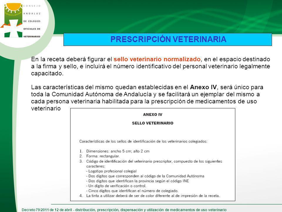 Decreto 79/2011 de 12 de abril - distribución, prescripción, dispensación y utilización de medicamentos de uso veterinario En la receta deberá figurar