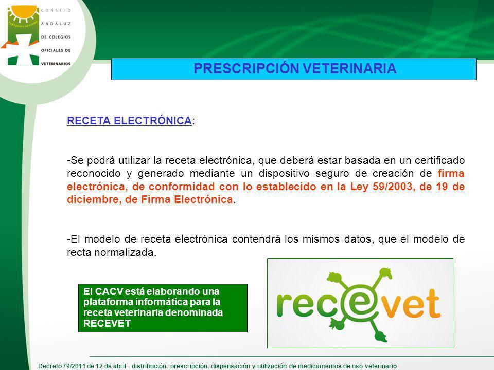 Decreto 79/2011 de 12 de abril - distribución, prescripción, dispensación y utilización de medicamentos de uso veterinario PRESCRIPCIÓN VETERINARIA RE