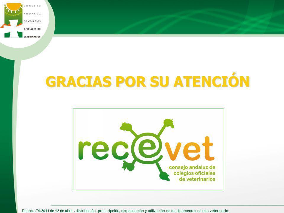 Decreto 79/2011 de 12 de abril - distribución, prescripción, dispensación y utilización de medicamentos de uso veterinario GRACIAS POR SU ATENCIÓN