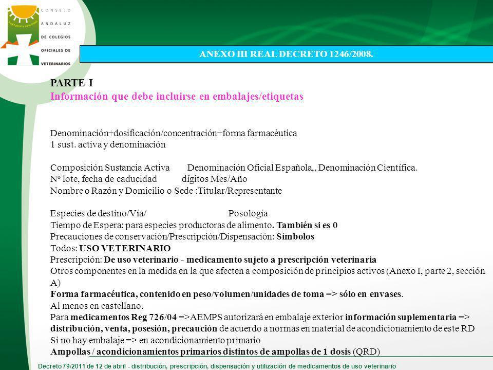 Decreto 79/2011 de 12 de abril - distribución, prescripción, dispensación y utilización de medicamentos de uso veterinario PARTE I Información que deb