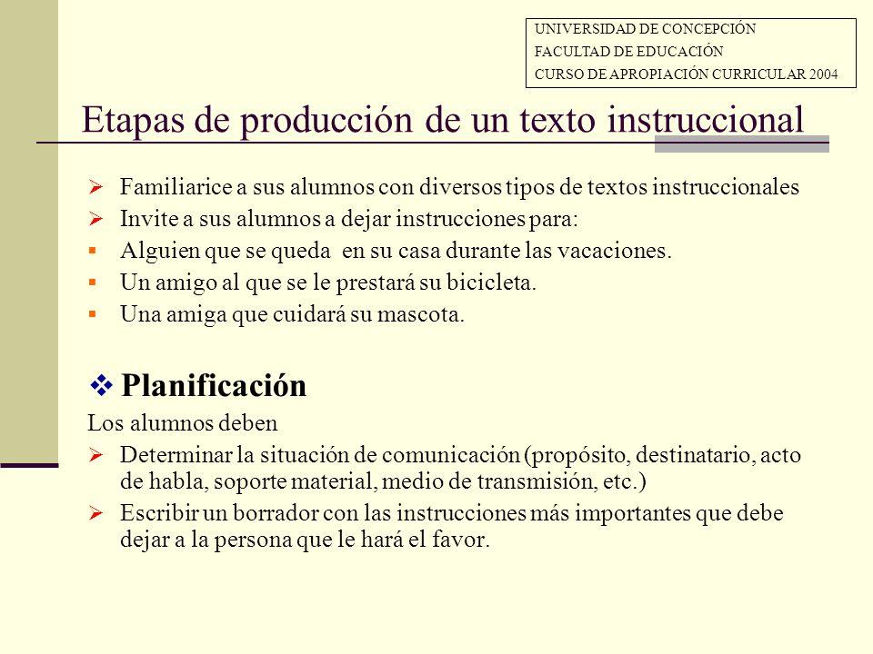 Etapas de producción de un texto instruccional Familiarice a sus alumnos con diversos tipos de textos instruccionales Invite a sus alumnos a dejar ins