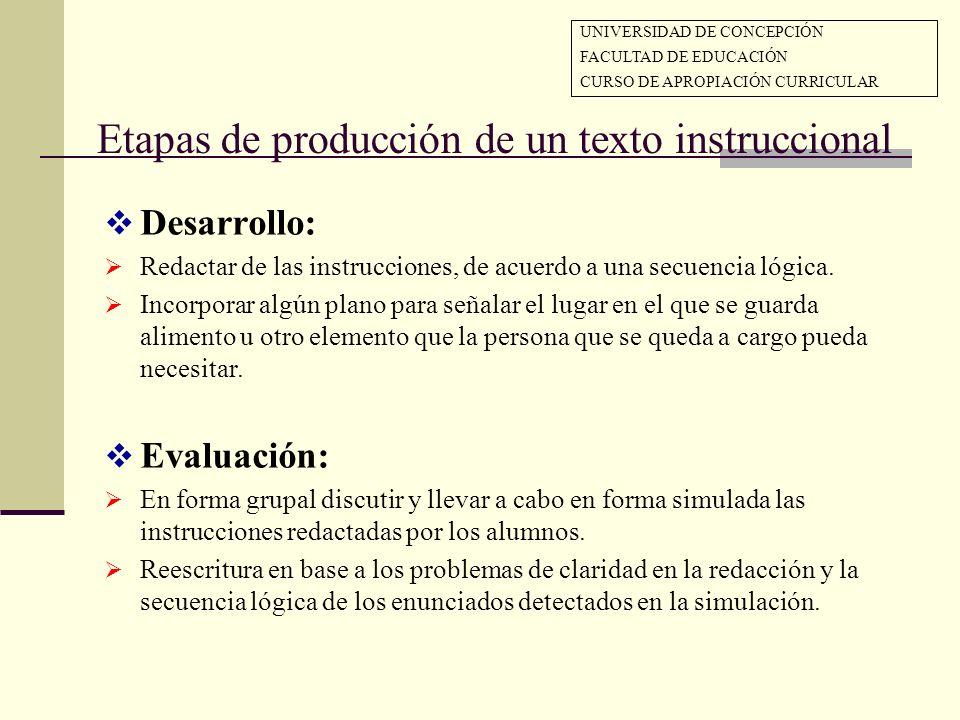 Etapas de producción de un texto instruccional Desarrollo: Redactar de las instrucciones, de acuerdo a una secuencia lógica. Incorporar algún plano pa