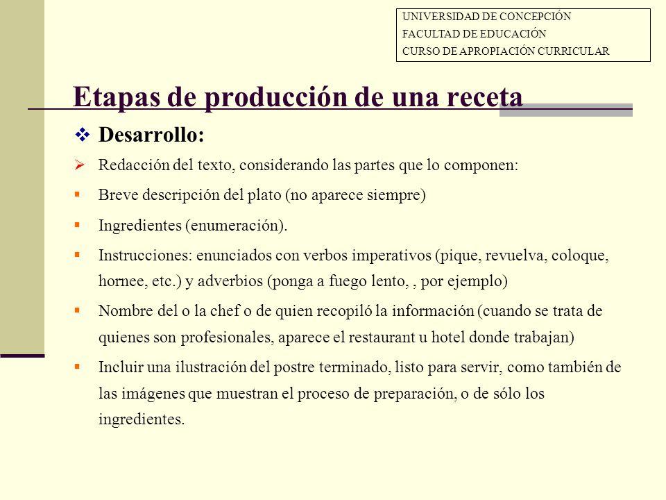 Etapas de producción de una receta Desarrollo: Redacción del texto, considerando las partes que lo componen: Breve descripción del plato (no aparece s