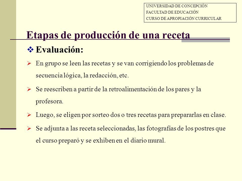 Etapas de producción de una receta Evaluación: En grupo se leen las recetas y se van corrigiendo los problemas de secuencia lógica, la redacción, etc.