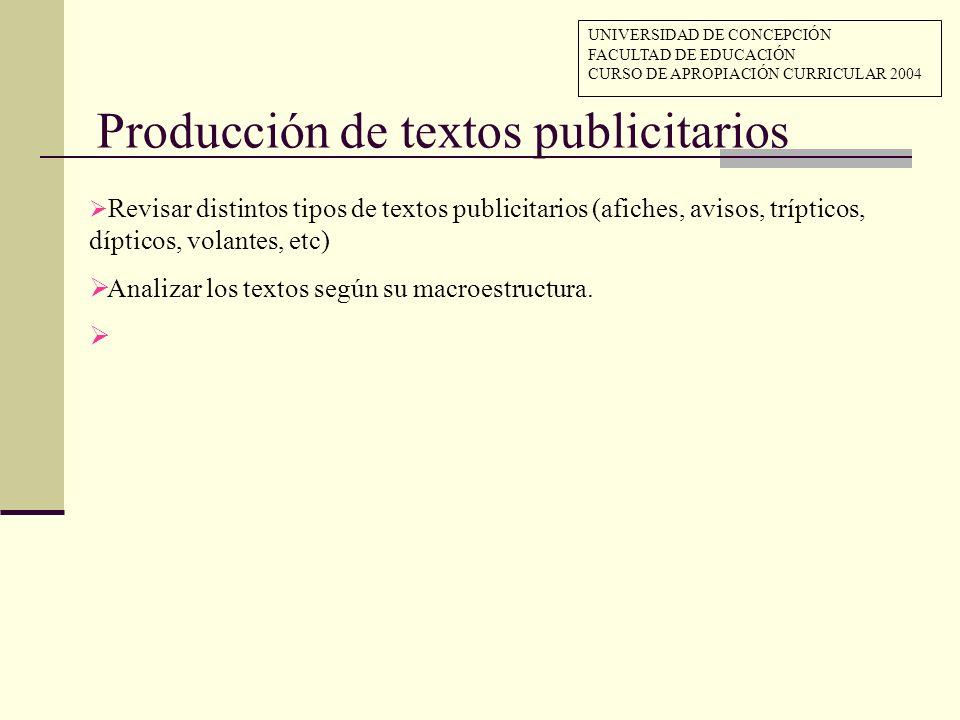 Producción de textos publicitarios Revisar distintos tipos de textos publicitarios (afiches, avisos, trípticos, dípticos, volantes, etc) Analizar los