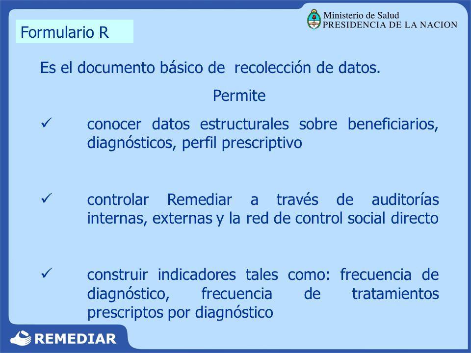 Es el documento básico de recolección de datos. Permite conocer datos estructurales sobre beneficiarios, diagnósticos, perfil prescriptivo controlar R