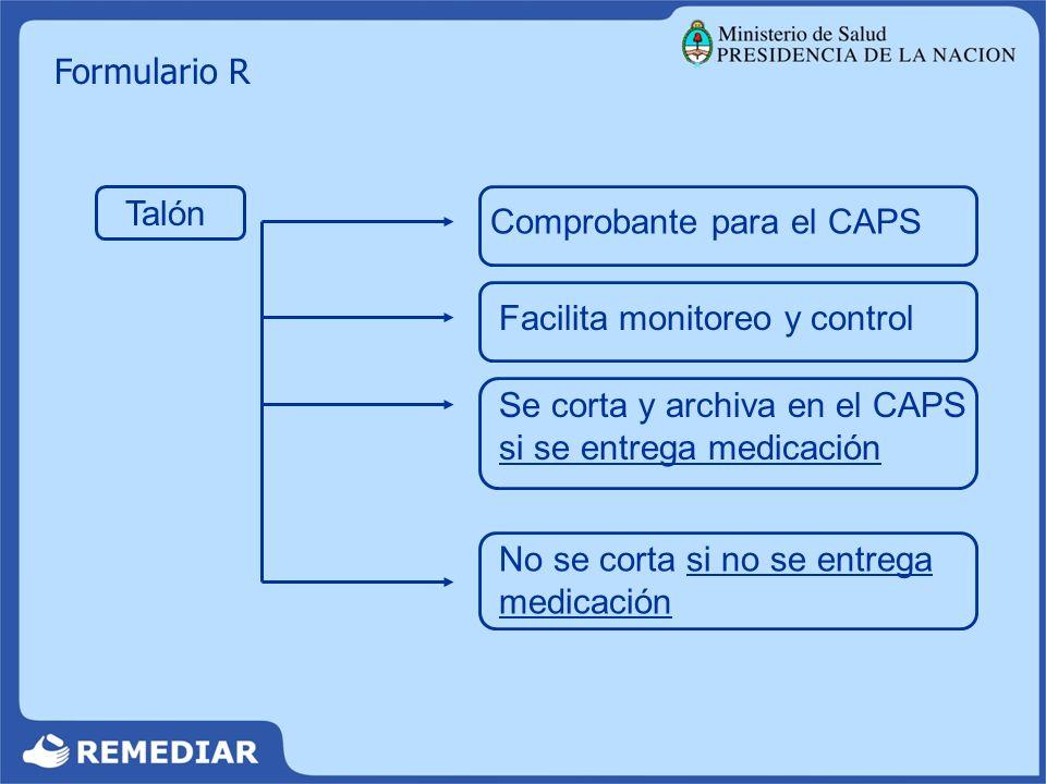 Formulario R Talón Comprobante para el CAPS Facilita monitoreo y control Se corta y archiva en el CAPS si se entrega medicación No se corta si no se e