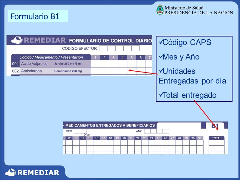 Código CAPS Mes y Año Unidades Entregadas por día Total entregado Formulario B1