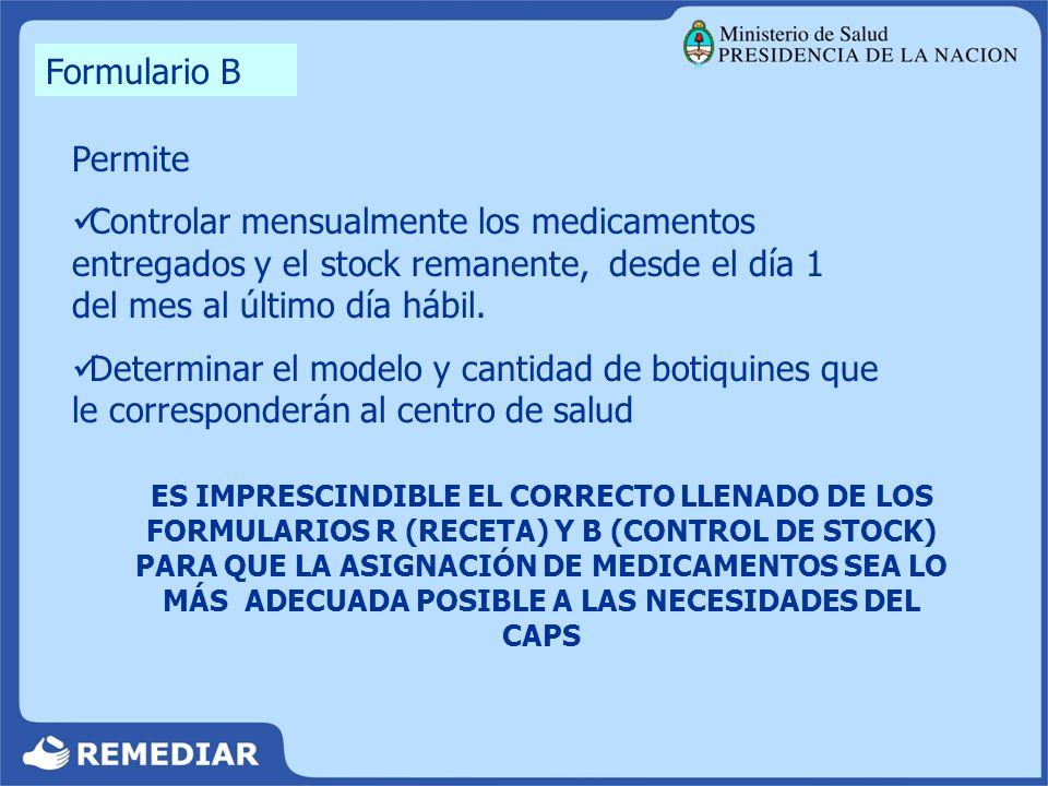 Permite Controlar mensualmente los medicamentos entregados y el stock remanente, desde el día 1 del mes al último día hábil. Determinar el modelo y ca