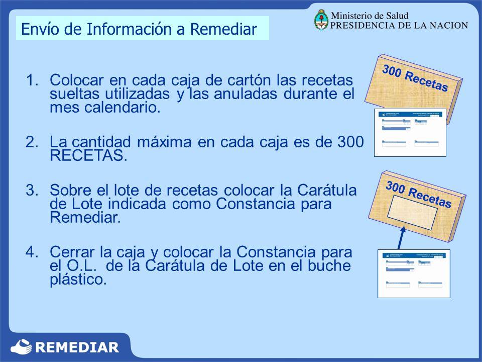 Envío de Información a Remediar 1.Colocar en cada caja de cartón las recetas sueltas utilizadas y las anuladas durante el mes calendario. 2.La cantida