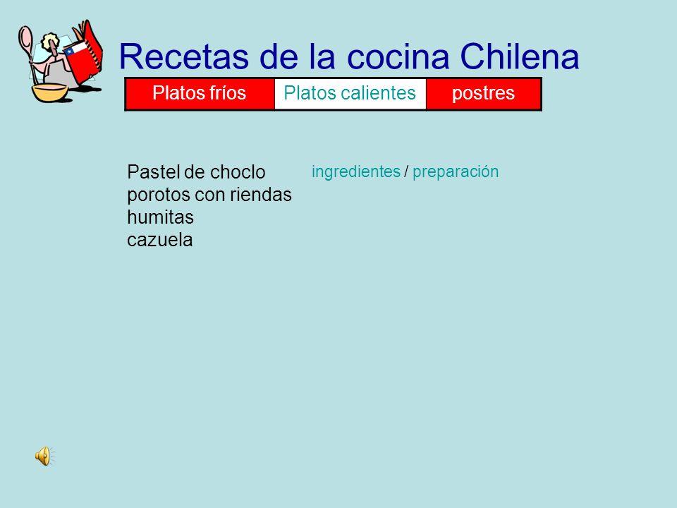 Ceviche Mariscal Ensalada chilena Recetas de la cocina Chilena Platos fríosPlatos calientespostres ingredientes / preparación