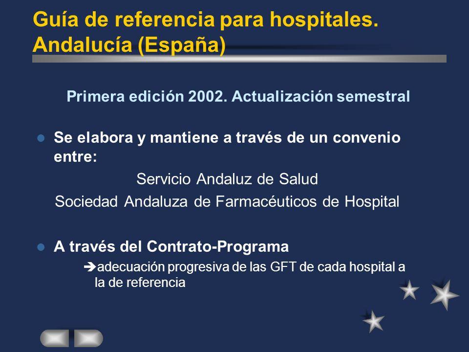 Guía de referencia para hospitales. Andalucía (España) Primera edición 2002. Actualización semestral Se elabora y mantiene a través de un convenio ent