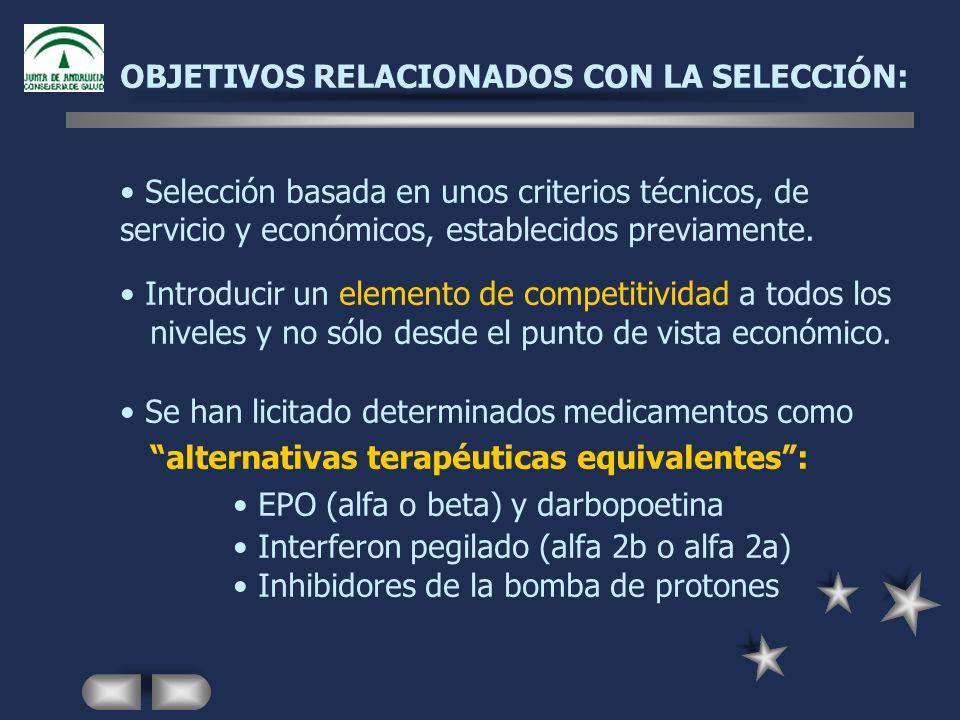 OBJETIVOS RELACIONADOS CON LA SELECCIÓN: Selección basada en unos criterios técnicos, de servicio y económicos, establecidos previamente. Introducir u