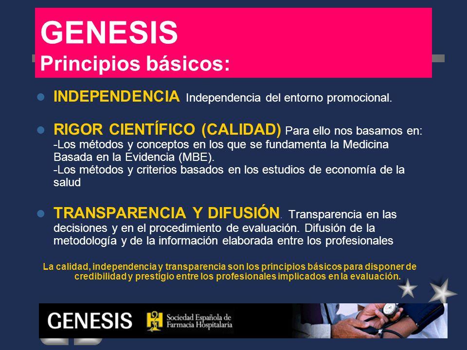 GENESIS Principios básicos: INDEPENDENCIA Independencia del entorno promocional. RIGOR CIENTÍFICO (CALIDAD) Para ello nos basamos en: -Los métodos y c