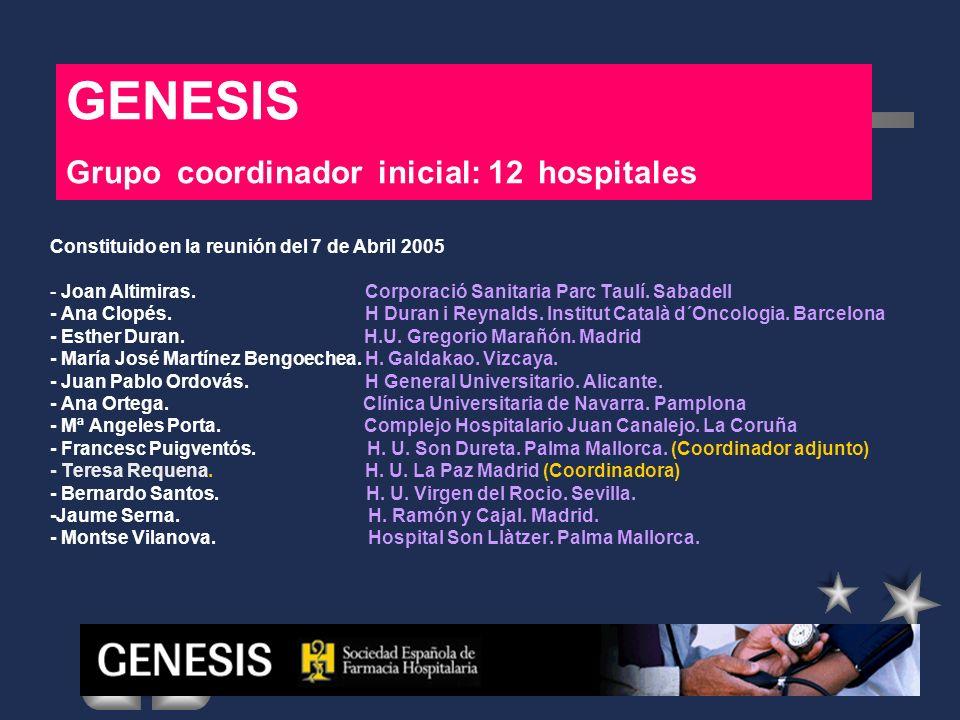 GENESIS Grupo coordinador inicial: 12 hospitales Constituido en la reunión del 7 de Abril 2005 - Joan Altimiras. Corporació Sanitaria Parc Taulí. Saba