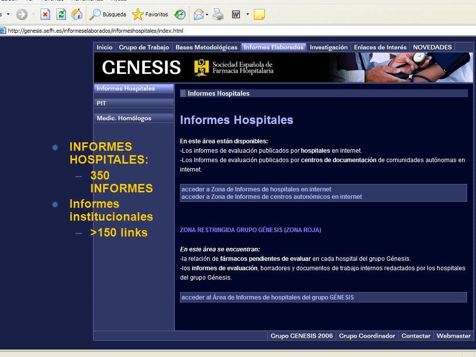 INFORMES HOSPITALES: –350 INFORMES Informes institucionales –>150 links