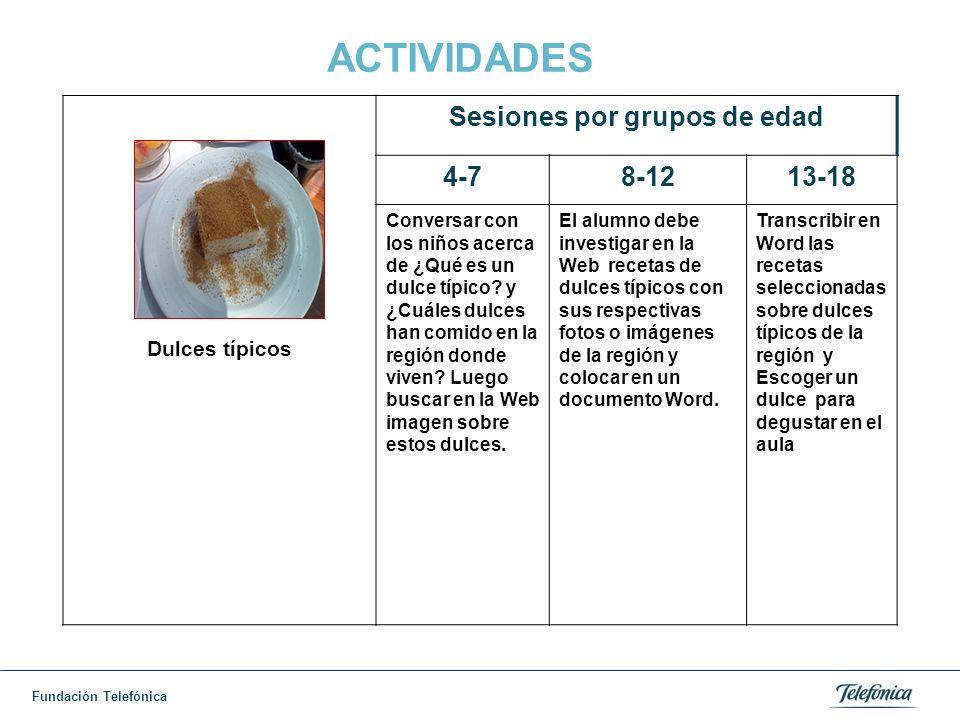 Fundación Telefónica ACTIVIDADES Dulces típicos Sesiones por grupos de edad 4-78-1213-18 Conversar con los niños acerca de ¿Qué es un dulce típico.