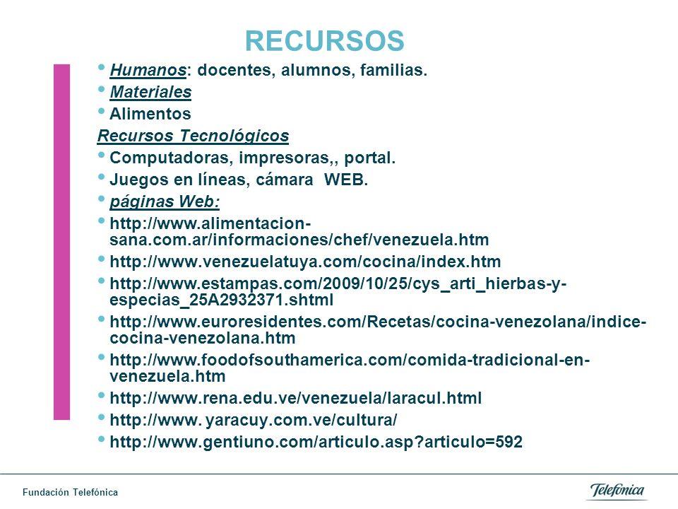 Fundación Telefónica RECURSOS Humanos: docentes, alumnos, familias.
