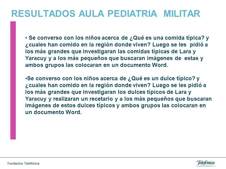 Fundación Telefónica RESULTADOS AULA PEDIATRIA MILITAR Se converso con los niños acerca de ¿Qué es una comida típica.