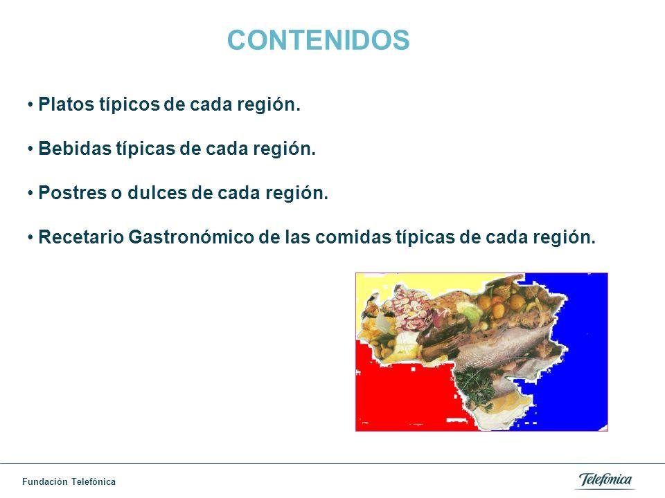 Fundación Telefónica RESULTADOS AULA JM DE LOS RIOS Elaboración de recetario usando la representación en power point sobre un recetario gastronómico de las comidas típicas de cada estado de la región central.
