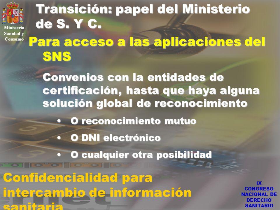 IX CONGRESO NACIONAL DE DERECHO SANITARIO Transición: papel del Ministerio de S. Y C. Ministerio Sanidad y Consumo Confidencialidad para intercambio d