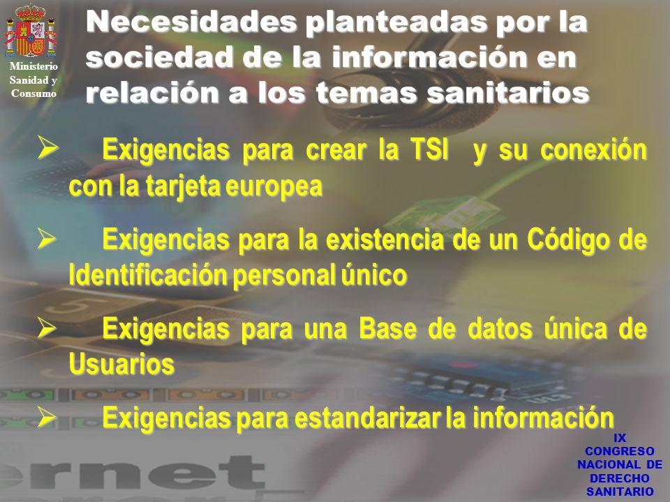IX CONGRESO NACIONAL DE DERECHO SANITARIO Necesidades planteadas por la sociedad de la información en relación a los temas sanitarios Ministerio Sanid