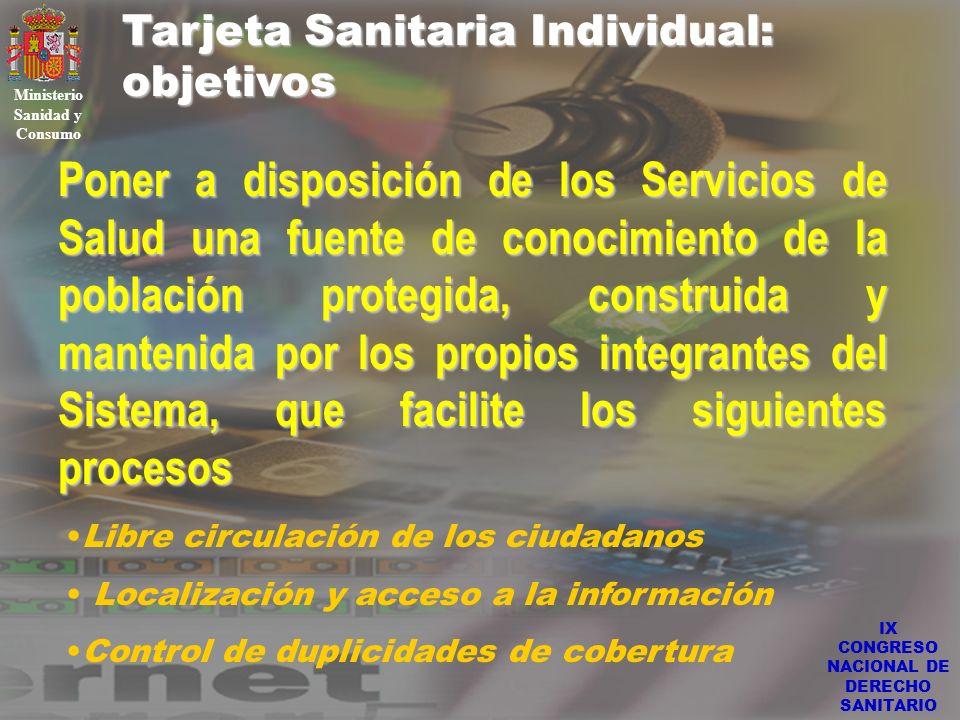 IX CONGRESO NACIONAL DE DERECHO SANITARIO Tarjeta Sanitaria Individual: objetivos Ministerio Sanidad y Consumo Poner a disposición de los Servicios de