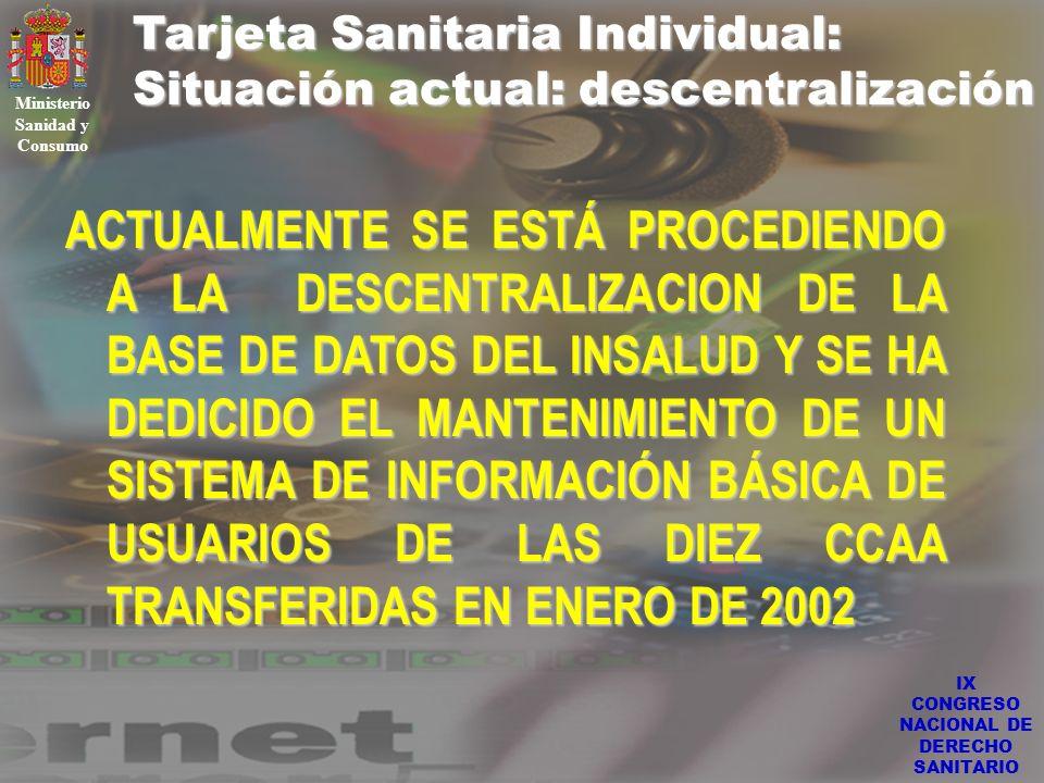 IX CONGRESO NACIONAL DE DERECHO SANITARIO Tarjeta Sanitaria Individual: Situación actual: descentralización Ministerio Sanidad y Consumo ACTUALMENTE S