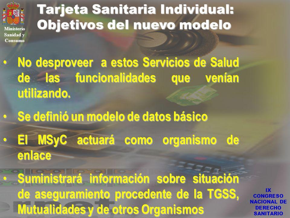 IX CONGRESO NACIONAL DE DERECHO SANITARIO Tarjeta Sanitaria Individual: Objetivos del nuevo modelo Ministerio Sanidad y Consumo No desproveer a estos