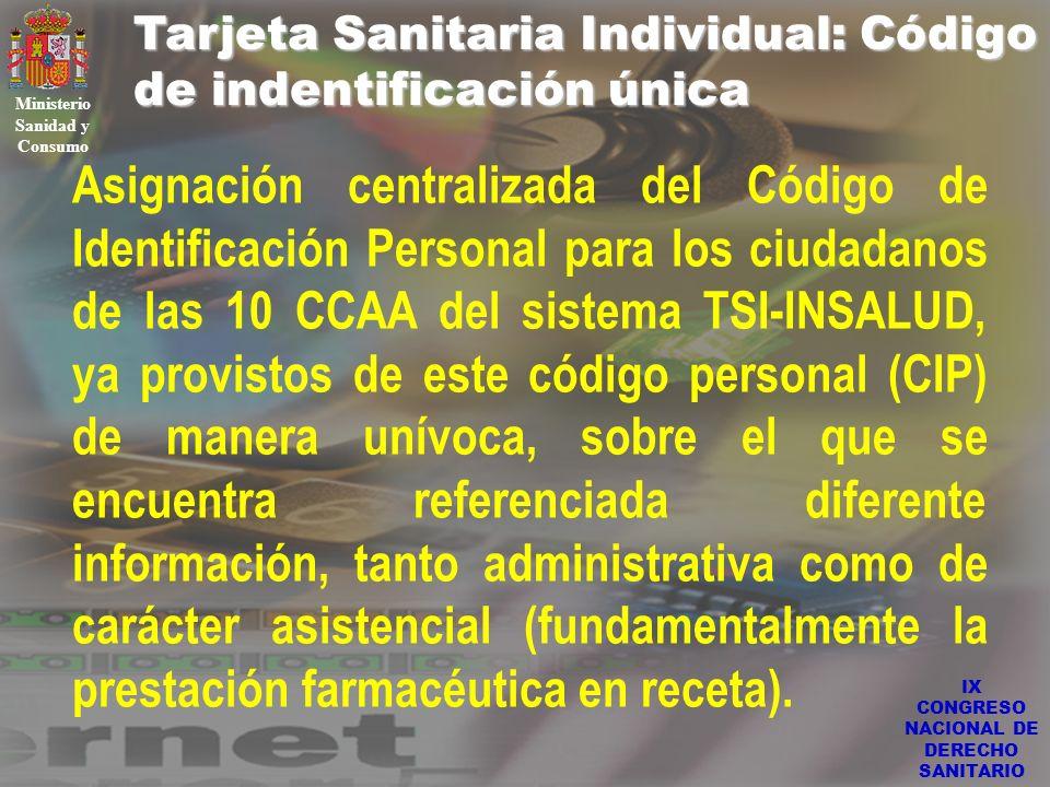 IX CONGRESO NACIONAL DE DERECHO SANITARIO Tarjeta Sanitaria Individual: Código de indentificación única Ministerio Sanidad y Consumo Asignación centra