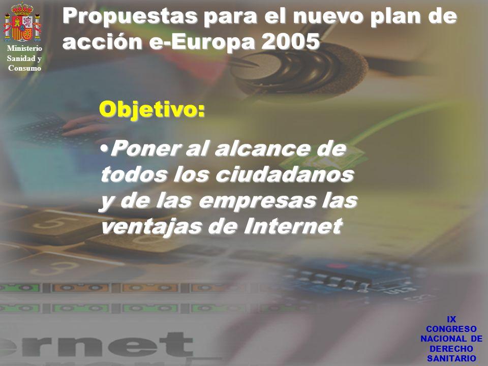 IX CONGRESO NACIONAL DE DERECHO SANITARIO Propuestas para el nuevo plan de acción e-Europa 2005 Ministerio Sanidad y Consumo Areas prioritarias del nuevo Plan: Despliegue de redes de banda anchaDespliegue de redes de banda ancha Incremento de la seguridad en las redes y en las transaccionesIncremento de la seguridad en las redes y en las transacciones Desarrollo de la administración electrónicaDesarrollo de la administración electrónica Impulso al comercio electrónicoImpulso al comercio electrónico Incremento de la formaciónIncremento de la formación