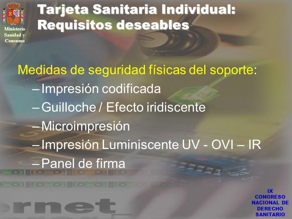 IX CONGRESO NACIONAL DE DERECHO SANITARIO Tarjeta Sanitaria Individual: Requisitos deseables Ministerio Sanidad y Consumo Medidas de seguridad físicas