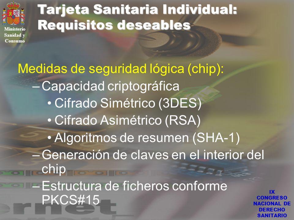 IX CONGRESO NACIONAL DE DERECHO SANITARIO Tarjeta Sanitaria Individual: Requisitos deseables Ministerio Sanidad y Consumo Medidas de seguridad lógica