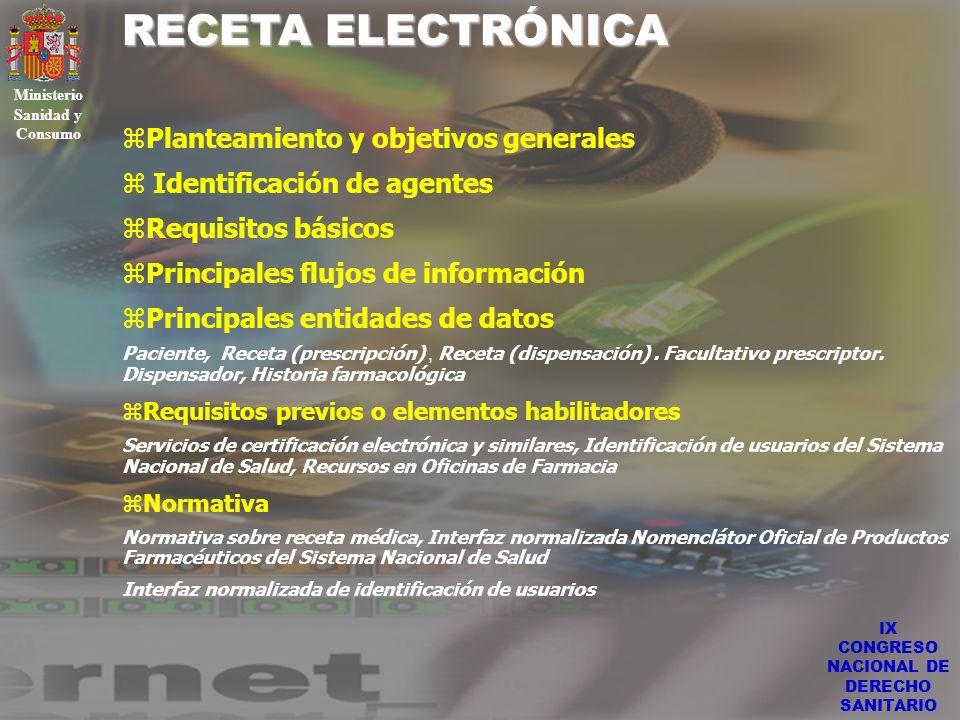 IX CONGRESO NACIONAL DE DERECHO SANITARIO RECETA ELECTRÓNICA Ministerio Sanidad y Consumo zPlanteamiento y objetivos generales Identificación de agent