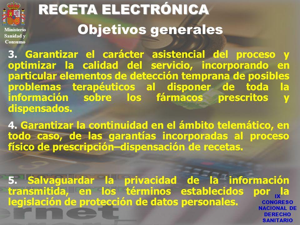 IX CONGRESO NACIONAL DE DERECHO SANITARIO RECETA ELECTRÓNICA Ministerio Sanidad y Consumo 3. Garantizar el carácter asistencial del proceso y optimiza