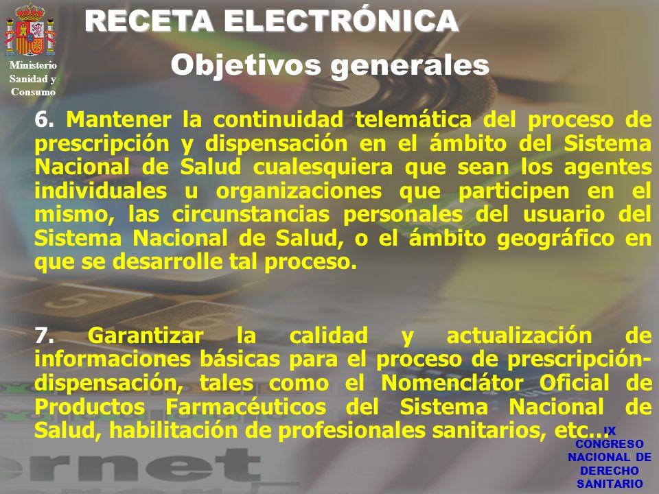 IX CONGRESO NACIONAL DE DERECHO SANITARIO RECETA ELECTRÓNICA Ministerio Sanidad y Consumo 6. Mantener la continuidad telemática del proceso de prescri