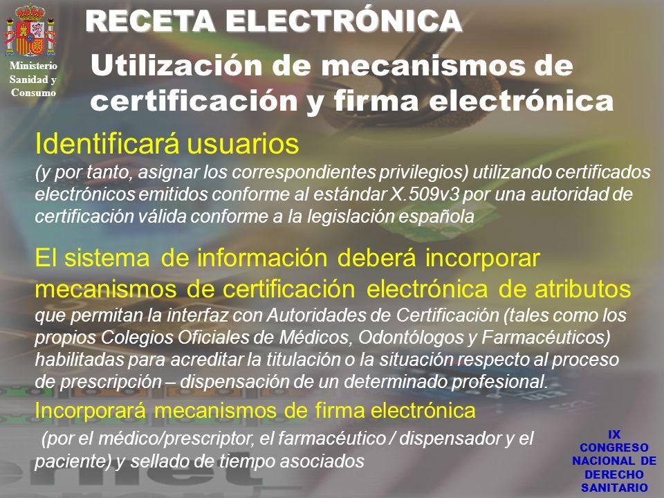IX CONGRESO NACIONAL DE DERECHO SANITARIO RECETA ELECTRÓNICA Ministerio Sanidad y Consumo Utilización de mecanismos de certificación y firma electróni